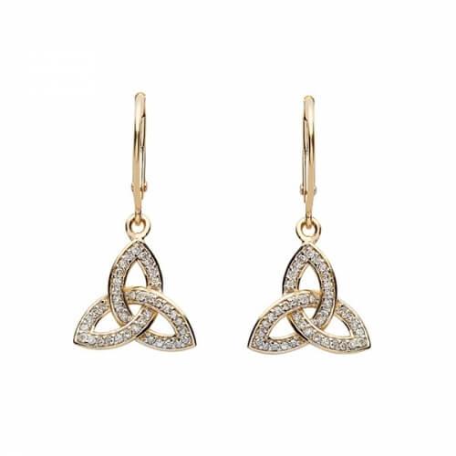 Boucles d'oreilles pendantes diamant Trinité