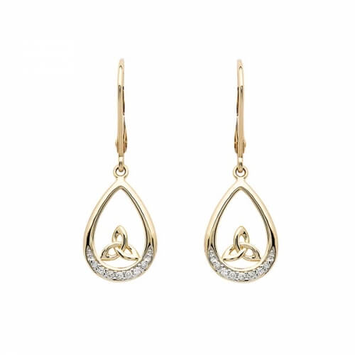 Diamond Trinity Dangle Earrings