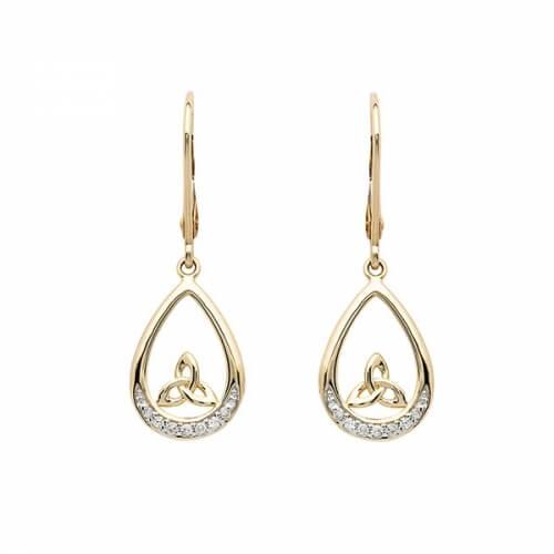 Trinité diamant pendre boucles d'oreilles