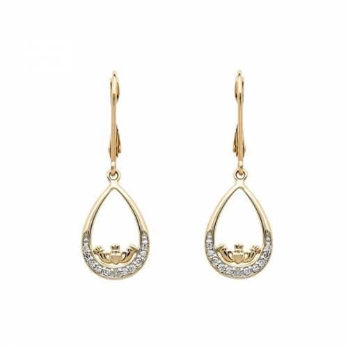 Diamond Claddagh Dangle Earrings