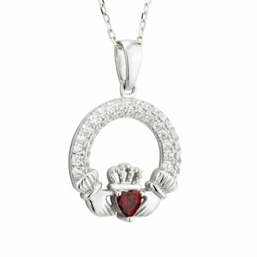 January Birthstone Claddagh Necklace