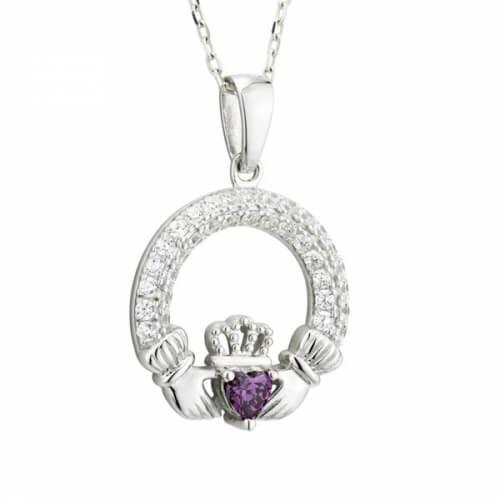 February Birthstone Claddagh Necklace