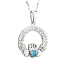 March Birthstone Claddagh Necklace