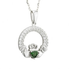 May Birthstone Claddagh Necklace