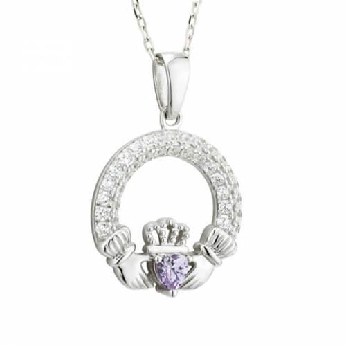 June Birthstone Claddagh Necklace