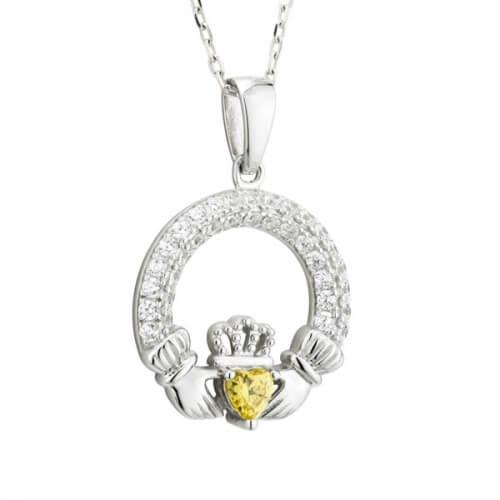 November Claddagh Geburtsstein Halskette
