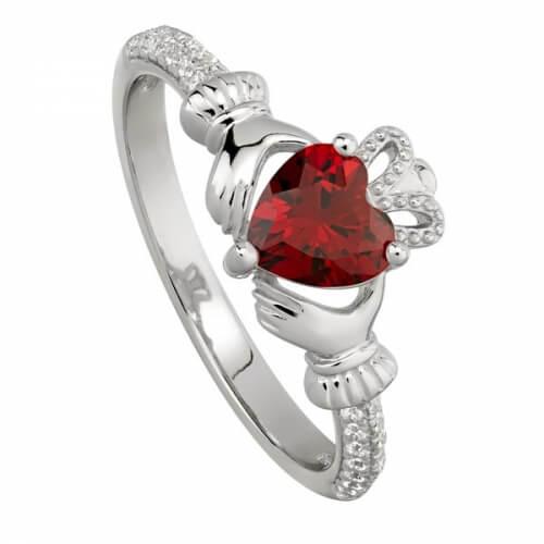 January Garnet Claddagh Ring