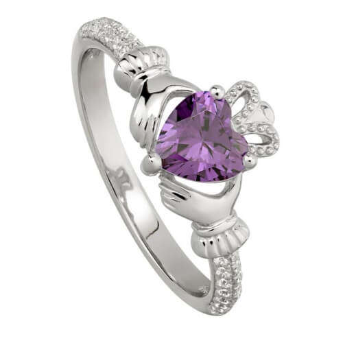February Amethyst Claddagh Ring
