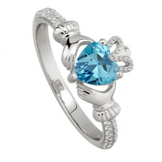 March Aquamarine Claddagh Ring