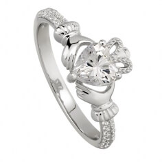 April Crystal Claddagh Ring