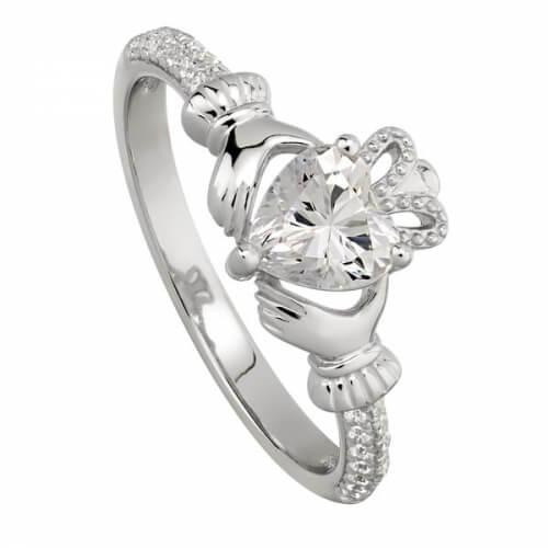 April Crystal Claddagh Ring