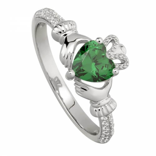 May Emerald Claddagh Ring