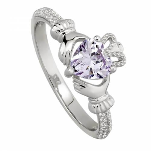 June Amethyst Claddagh Ring