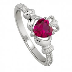 July Ruby Claddagh Ring