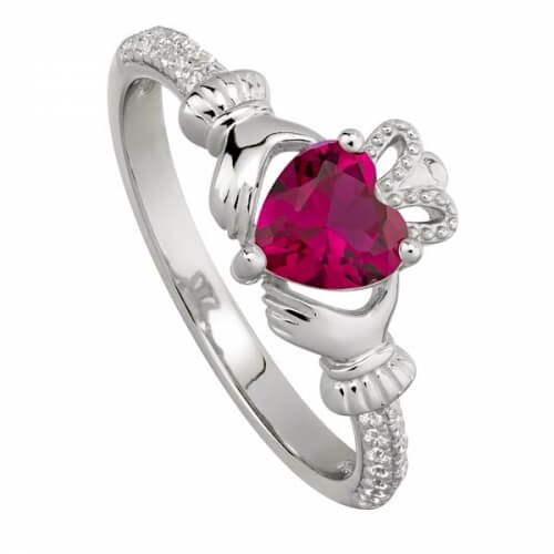 July Ruby Claddagh Ring