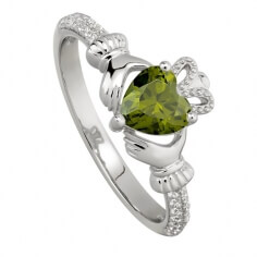 August Peridot Claddagh Ring