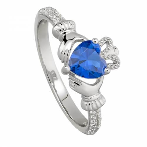 September Saphir Claddagh Ring