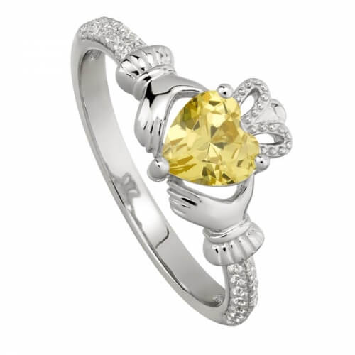 November Topaz Claddagh Ring