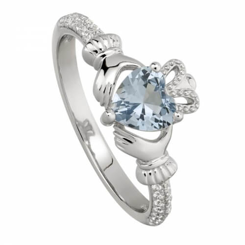 December Zircon Claddagh Ring