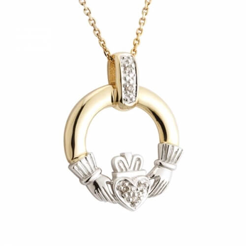 Gold Diamond Claddagh Pendant