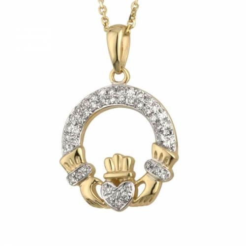 Pendentif Claddagh à deux tons de diamants