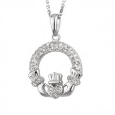 White Gold Diamond Claddagh Pendant