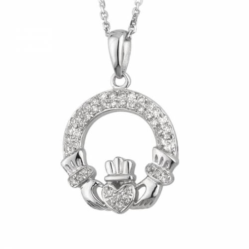 Pendentif Claddagh en or blanc avec diamants