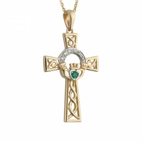 Pendentif croix émeraude claddagh