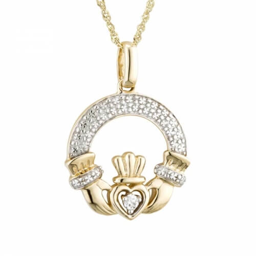 Klassischer Diamant Claddagh Anhänger