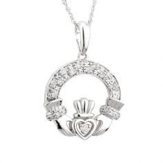 Classic Diamond Claddagh White Gold Pendant
