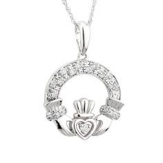 Pendentif en or blanc avec diamant classique Claddagh