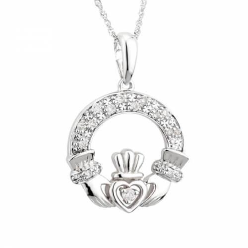 Klassischer Diamant Claddagh Weißgold Anhänger