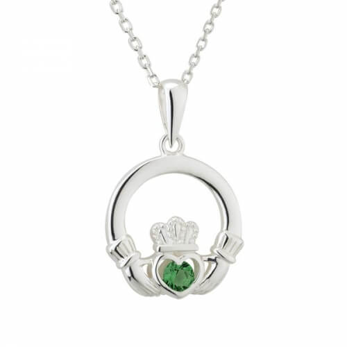 Grüner Kristall Claddagh Anhänger
