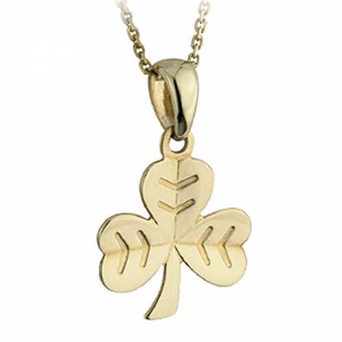 Gold Herringbone Shamrock Pendant