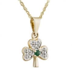Diamant & Smaragd Kleeblatt Anhänger