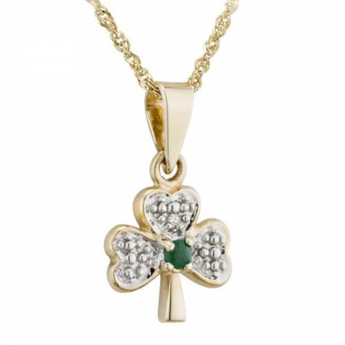 Diamond & Emerald Shamrock Pendant