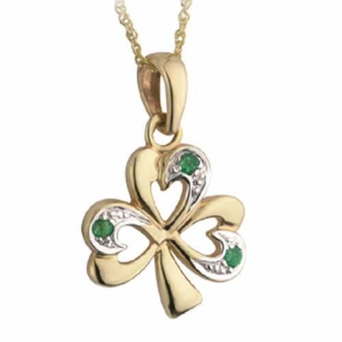 Emerald Shamrock Charm Pendant