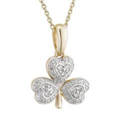 Pendentif diamant trèfle irlandais