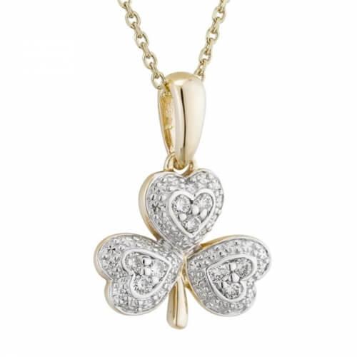 Irish Shamrock Diamond Pendant