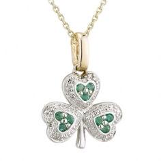 Smaragd irische Kleeblatt Halskette