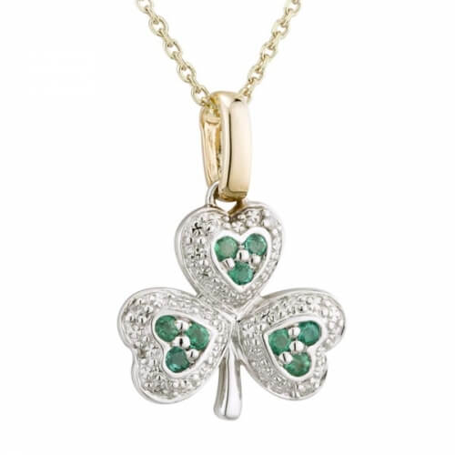 Emerald Irish Shamrock Necklace