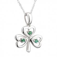 Emerald Shamrock Wire Pendant