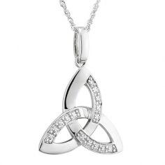 Pendentif Trinité en or blanc avec diamants
