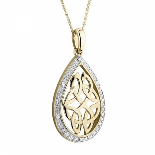 Trinity Teardrop Diamond Pendant