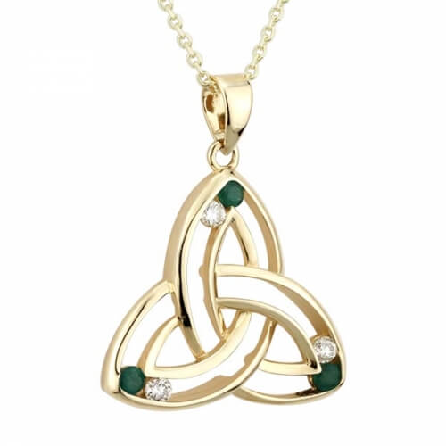 Diamond & Emerald Trinity Pendant
