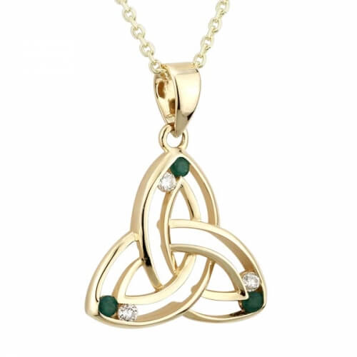 Small Diamond & Emerald Trinity Pendant