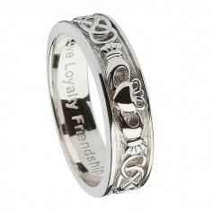 Men's Silver Claddagh Wedding Ring