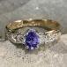 Blue Tanzanite Engagement Ring - Yellow Gold