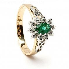 Emerald Diamond Cluster Engagement Ring - Yellow Gold