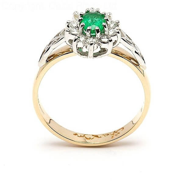 Emerald Diamond Cluster Engagement Ring